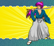 Manga samurai. Manga style samurai on a colorful background Royalty Free Stock Images