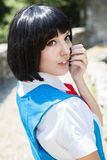 Manga Schoolgirl. Beautiful model posing in black wig, as a manga japanese schoolgirl Royalty Free Stock Photos