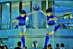 Manga Soccer Player Statues grande foto de archivo