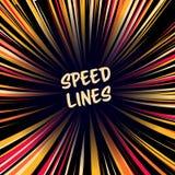 Manga Speed Lines Vector Disposizione per i libri di fumetti Insegna con l'illustrazione di effetto colorata parte radiale Esplos Fotografie Stock