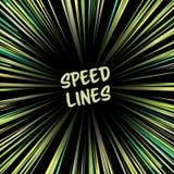 Manga Speed Lines Vector Linee radiali comiche di velocità Ray And Acceleration Illustrazione immaginaria dell'altro mondo Fotografia Stock Libera da Diritti