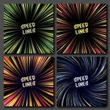 Manga Speed Lines Vector Set Lay-out voor Grappige Boeken Banner met Radiale Gekleurde Effect Illustratie Starburstexplosie in Ma royalty-vrije illustratie
