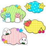 Manga stickers. Set of cute manga style stickers Stock Image