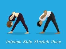 Manga Style Cartoon Intense Side Stretch Pose. Yoga Posture EPS10 File Format Royalty Free Stock Photos