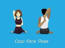 Manga Style Cartoon Yoga Cow vänder mot poserar Arkivbild
