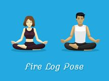 Manga Style Cartoon Yoga Fire Log Pose. Yoga Posture EPS10 File Format Royalty Free Stock Image