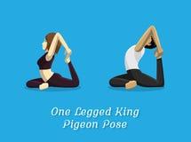 Manga Style Cartoon Yoga One-mit Beinen versehener König Pigeon Pose Lizenzfreie Stockfotos