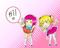 Manga style girls. Two cute girls drawn in japanese manga style Royalty Free Stock Photos