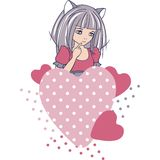 Manga style girls with hearts. Vector background Stock Photos