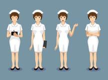 Manga Style Nurse Poses vänder mot vektorillustrationen royaltyfri illustrationer