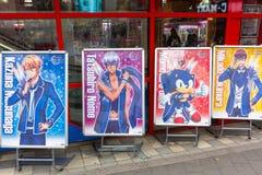 Manga tecknad filmtecken på gatan av Tokyo Royaltyfri Fotografi