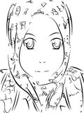Manga women hooded 1. This is a picture of a hooded woman, made using the line art. You can use as a comic and can also give you the color as you wish Royalty Free Stock Image
