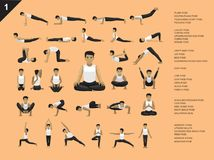 Manga Yoga Man Easy Poses Set Cartoon Vector Illustration. Manga Yoga Posture EPS10 File Format Stock Photography