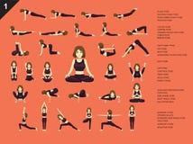 Manga Yoga Woman Easy Poses Set Cartoon Vector Illustration. Manga Yoga Posture EPS10 File Format Stock Photos