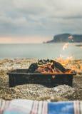 Mangal with burning coal at sea coast, Alanya, Turkey Stock Photos