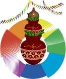 Mangal divino Kalash y coco ilustración del vector