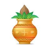 Mangal Kalash with Coconut. Llustration of coconut in golden mangal kalash for hindu festival.  illustration Stock Images