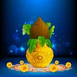 Mangal Kalash on Rangoli. Illustration of coconut in mangal kalash on colorful rangoli for hindu festival stock illustration