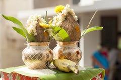 Mangal kalash voor de functie van de draadceremonie in Hindoese godsdienst royalty-vrije stock fotografie