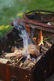 Mangal preparation with fire Stock Photography