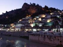 Mangalem Quarter of Berati Albania at Night