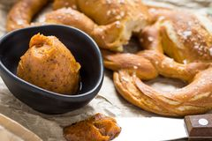 Mangalica Fat Spread with Fresh Pretzel. Homemade Mangalica Fat Spread with Fresh Bavarian Pretzel Stock Photography