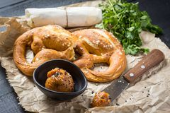 Mangalica Fat Spread with Fresh Pretzel. Homemade Mangalica Fat Spread with Fresh Bavarian Pretzel Royalty Free Stock Image