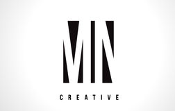 Manganèse M N White Letter Logo Design avec la place noire Images libres de droits