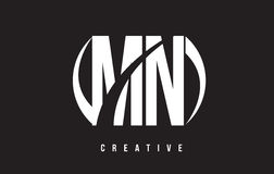 Manganèse M N White Letter Logo Design avec le fond noir Photos libres de droits