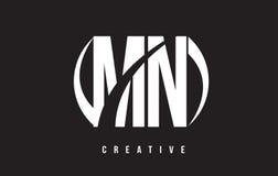 Manganês M N White Letter Logo Design com fundo preto Fotos de Stock Royalty Free