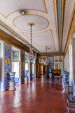 Mangas or Tiles Corridor in the Queluz National Palace, Portugal. Royalty Free Stock Images
