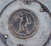 Mangat/afvoerkanaaldekking in Koblenz, Duitsland royalty-vrije stock afbeelding