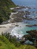 Mangawhai cliff walk: coast view rocky inlet Stock Image