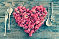 Mangeant dans l'amour, effet de vintage de denim Images stock