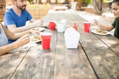 Mangeant de la nourriture dehors avec des amis Photo libre de droits