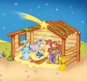 Manger. Color digital illustration. Jesus's birth inside the hut Royalty Free Stock Image