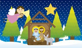 Manger. With angel and tree over snow, night. vector Royalty Free Stock Photography
