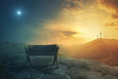 Manger And Crosses Stock Photo