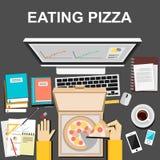Manger de la pizza en travaillant ou en étudiant le concept d'illustration Conception plate Photos libres de droits