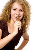 Manger du chocolat Photos libres de droits