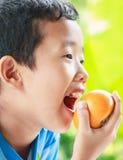 Manger du fruit Images stock