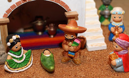 Manger with the Holy Family in Mexican version 1 Royalty Free Stock Photography