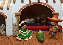 Manger with the Holy Family in Mexican version 2 Stock Images