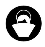 Manger jesus baby figure silhouette icon Stock Image