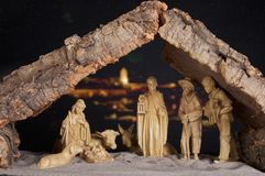 Manger by night stock photos