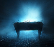 Manger at night. A manger at night with blue bright lights Royalty Free Stock Image