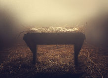 Manger at night under fog Royalty Free Stock Photo