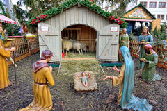 Manger scene on traditional Christmas market in Leipzig Stock Photo