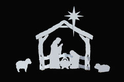 Manger Silhouette Baby Jesus Mary Joseph Lambs Stock Photo