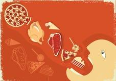 Mangeur d'hommes affamé beaucoup de nourriture. Affiche de vecteur Images stock